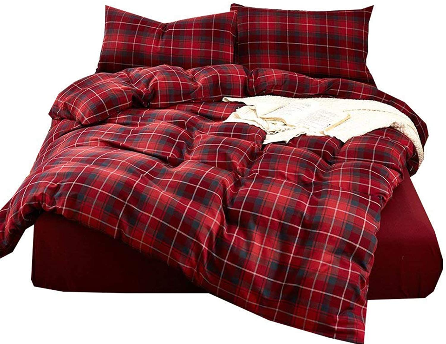 XUKEJU Elegant Reversible Bedding Set Printed Plaid 100% Cotton Flannel 3 Pieces Duvet Cover Geometric Pattern Grid Gingham Quilt Cover Kids Teens Adults (Red, Full Queen)