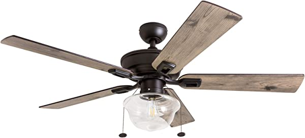 Prominence Home 80091 01 Abner Vintage Indoor Outdoor Ceiling Fan ETL Damp Rated 52 LED Schoolhouse Edison Bulb Rustic Farmhouse Barnwood Blades Espresso Bronze