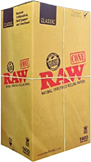 RAW 1400 Classic King Size Cones – Sturdy W Gallery Box - Pure Hemp 109mm Pre Rolled Cones - 26mm Filter Tips - Natural Brown Unbleached Unrefined Rolling Papers - Bulk Pack Bundle