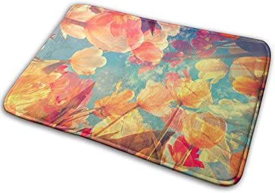 "T Pastel Colored with Flowers, Floor Rug Indoor/Front Door Mats Home Decor Rubber Non Slip Backing 23.6""(W) X 15.8""(L)"