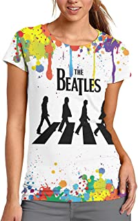 BEATLES ビートルズ Tシャツ レディース 半袖 3D カットソー 丸首 無地 ゆったり 大きいサイズ カジュアル プリント シャツ