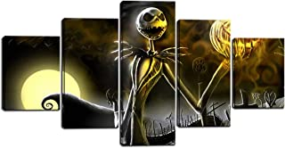 Hallowmas Jack Skellington Painting for Living Room Decor Nightmare Before Christmas Canvas Prints Wall Art Pictures Framed Ready to Hang 5 Pieces (60X32 inches)