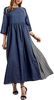 Connia Women's Dress, Striped Denim Long Dress Islamic Muslim Middle East Maxi Robe Straight Dresses