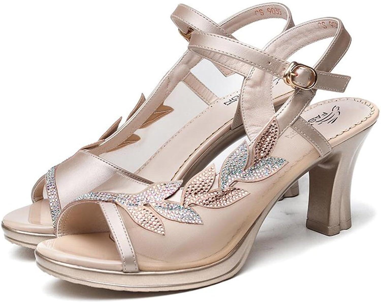 CJC Sandals Women's Lady's Ankle Strap shoes High Heel Open Toe Peep Toe