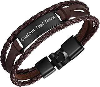 U7 Men Women Customized ID Bracelet Official or Sport Wristband Braided Leather or Waterproof Silicone Identification Bracelets Bangle,Length 16-20CM