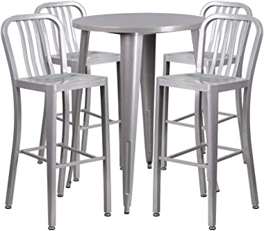 Flash Furniture 30'' Round Silver Metal Indoor-Outdoor Bar Table Set with 4 Vertical Slat Back Stools