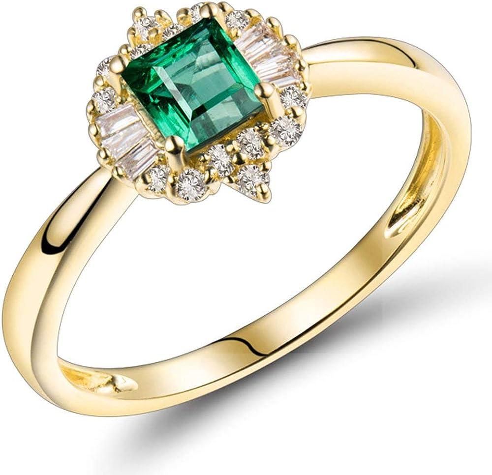 Lanmi 14K Yellow Gold Natural Emerald Diamonds Ring for Women Promise Engagement Wedding Anniversary