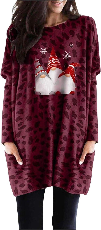 Leopard Tunic Tops for Leggings Christmas Sleeve Outlet ☆ Free Shipping Women Japan Maker New Long