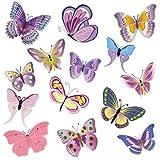 WANDKINGS WS-50002 - Set di Adesivi da Parete, Farfalle, 14 Adesivi, 2 Fogli DIN A4, Superficie Totale 60 x 20 cm
