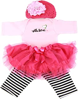 NPK Reborn Baby Doll Clothes Outfit for 20- 23 inch Reborn Dolls Babies Girl Clothing Outfit 4-Piece Set