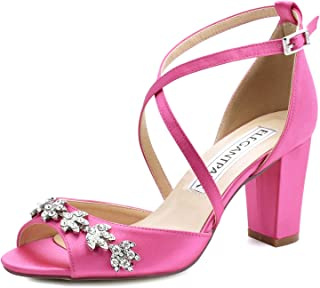 Women Peep Toe Block High Heel Sandals Strappy Rhinestones Satin Bridal Wedding Evening Prom Dress Shoes