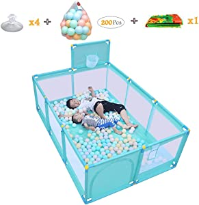 WJSW Large Household Protective Fence Baby Playpen with Basket Frame Children s Compact Strong Play Yard Toys Washable Ball Pool 190x128x66cm Green