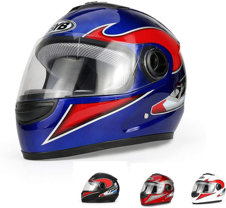 Lanbinxiang@ Unisex Full Face Helmet Motorcycle Handsome Helmet Electric Car Helmet Anti-Fog Helmet White Red Black blueee Predection