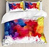 Ambesonne Abstract Duvet Cover Set, Vibrant Stains of Watercolor Paint Splatters Brushstrokes Dripping Liquid Art, Decorative 3 Piece Bedding Set with 2 Pillow Shams, Queen Size, Yellow Blue