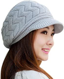 DZT1968® Women's Winter Knit Beanie Skullies Cap Hat with Brim Visor