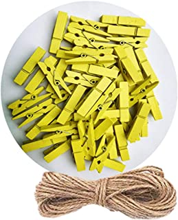 DurReus Sturdy Clothes Pegs ClampsDIYCraftMini ColoredWoodClothespinsClipHolidayChristmasCardswithTwinePack50 Yellow