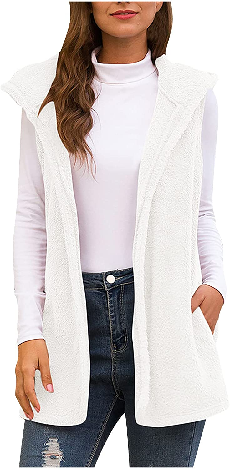 Women Casual Lapel Fuzzy Faux Cardigan Solid Color Thick Plush Hoodie Vest Loose Fit Pocket Work Jacket Tunic