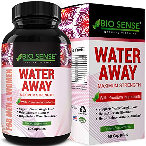 Water Away Supplement Diuretic Pills for Men Women - Reduce Water Retention Natural Dandelion Leaf Pure Green Tea Juniper Berry Vitamin B-6 for Water Balance and Bloating Relief