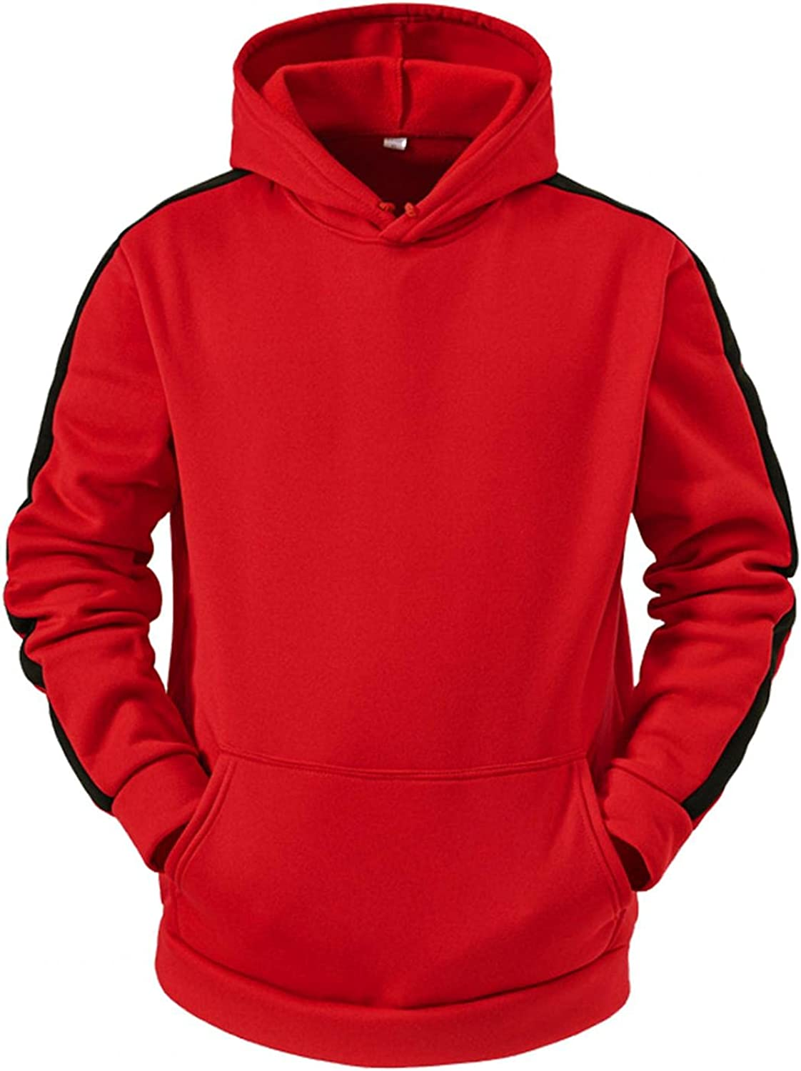 Qsctys Mens Hoodies Pullover Big and Tall Patchwork Sports Sweatshirts Hoodie Long Sleeve Tee with Hooded Gym Running Outdoor
