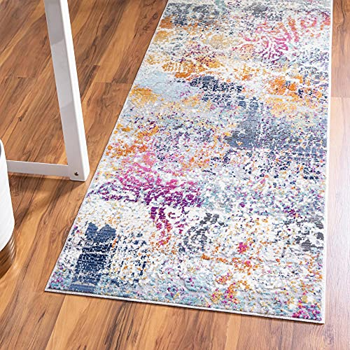 Rugs.com Malibu Collection Runner Rug – 10 Ft Runner Multi Low-Pile Rug Perfect for Hallways, Entryways