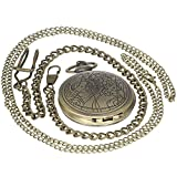 Vintage Film Doctor Who Brass Antique Case Pocket Watch 1 PC Necklace 1 PC Clip Key Rib Chain Quartz Pendant Watch Fob Nurse Watch