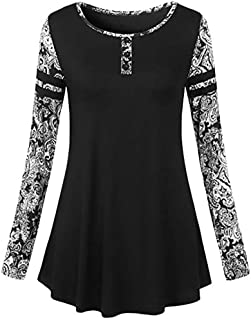 Long Sleeve Floral Printed Patchwork Crew Neck T-Shirt Autumn Blouse Tops Women's (Color : Black, Size : XL)