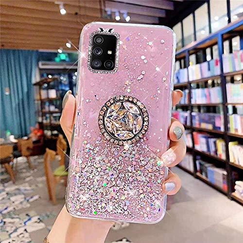 Coque pour Samsung Galaxy A51 Coque Transparent Glitter avec Support Bague,étoilé Bling Paillettes Motif Silicone Gel TPU Housse de Protection Ultra Mince Clair Souple Case pour Galaxy A51,Rose
