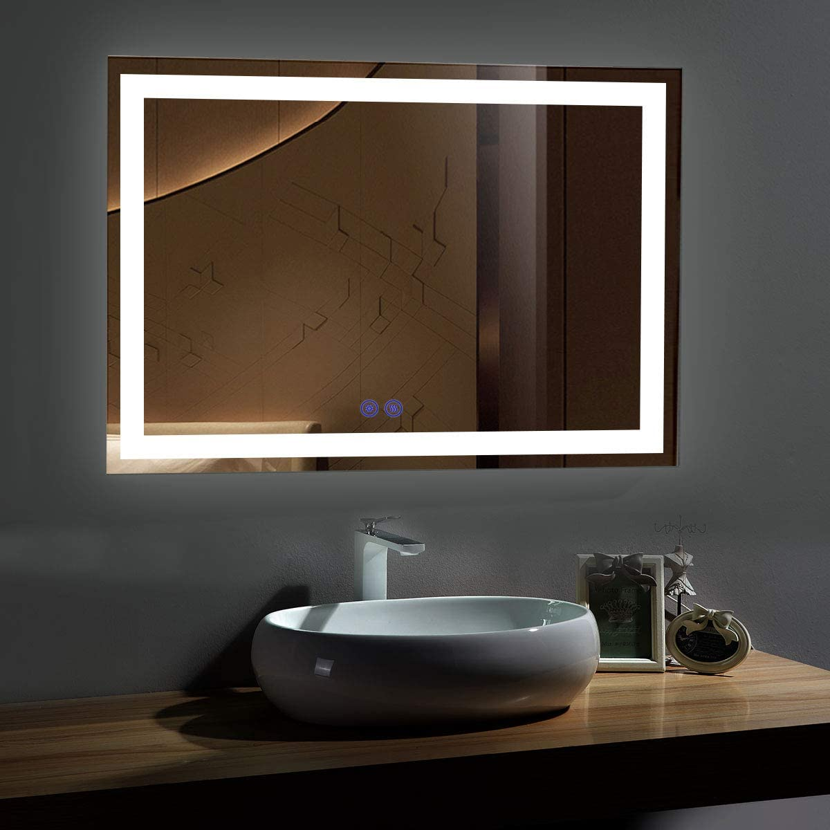 Amazon Com 55 X 36 In Led Bathroom Mirror With Touch Button Anti Fog Dimmable Vertical Horizontal Mount Ck010 5536 Ts Home Kitchen