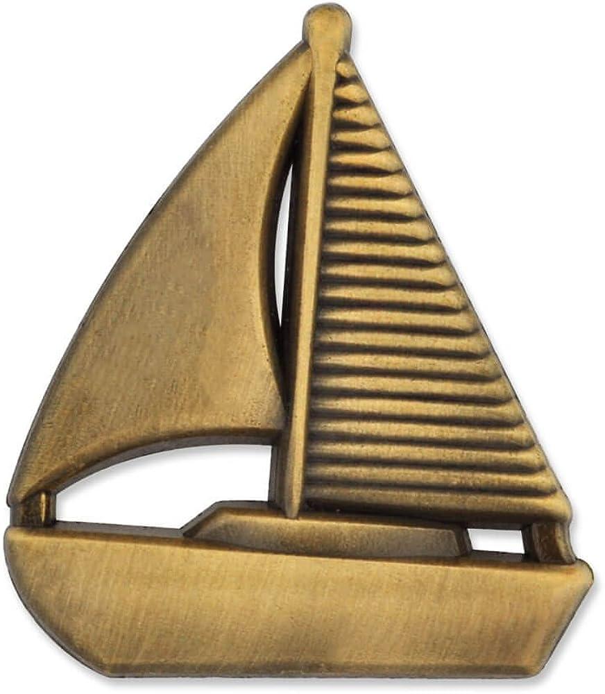 PinMart Popular standard Antique Gold 3D Superior Lapel Nautical Pin Sailboat