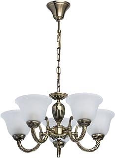 MW-Light 450016305 Lámpara de Techo de Lujo de Metal Color Broncetradicional Lámparas de Vidrio de Color de Alabastro en La Sala de Estar O Dormitorio 5 x 60W E27