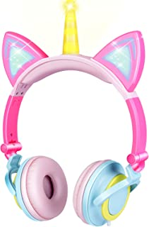 GBD Unicorn Kids Cat Ear Headphones for Girls Boys Toddlers Tablet School Supply Gifts,Light Up Wired Kids Pink Headphones...