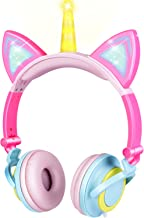 GBD Unicorn Kids Cat Ear Headphones Light Up Wired Adjustable for Boys Girls Tablet School Supplies, Led Glowing Kids Earphones Foldable Over On Ear Game Headset Toddlers Travel Birthday Gifts (Pink)