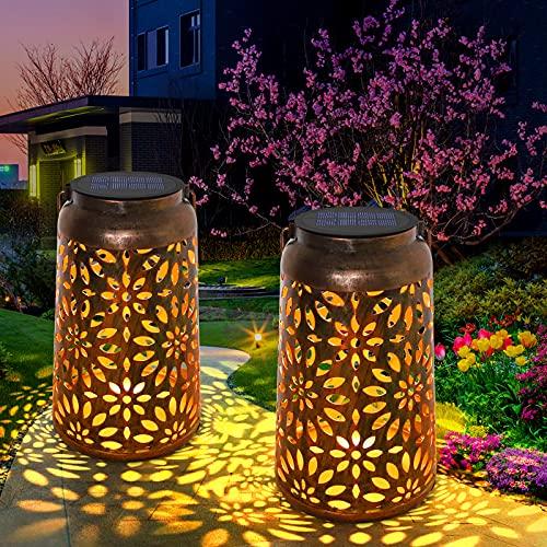 Lanterne solaire pour décoration - Jardin extérieur orne des lanternes à énergie solaire, IP44 étanche LED lampe suspendue lumières avec poignée pour jardin, chemin, arbre - Bronze (2 Pack)