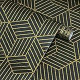 Papel pintado negro para muebles y rayas geométricas del hexágono dorado autoadhesivo resistente al agua decoración para muebles rayas doradas para pared muebles habitaciones vinilo 45*300 cm