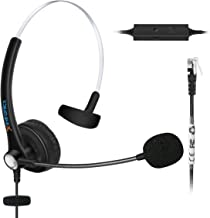 Fivetech Corded Call Center Telephone Headset Headphone with Mic + Volume Mute Contol for Aastra 6757i Mitel 5330 NEC Aspire DT300 DSX Polycom VVX Avaya 1416 2420 5410 and ShoreTel IP Phones