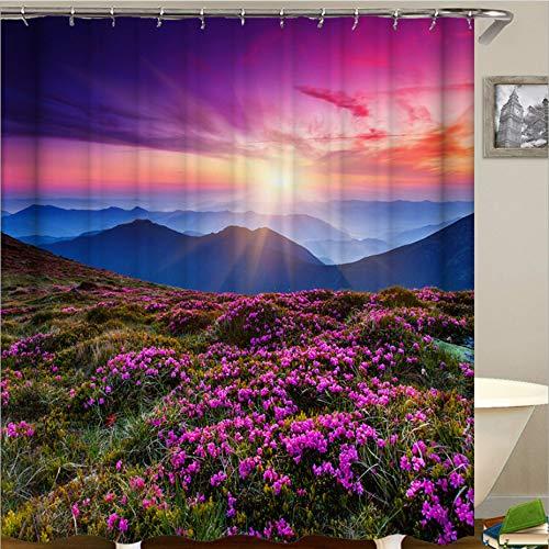 AZZXZONa Voll Polyester Blume Bad Vorhang 180X200Cm 12 Haken Sonnenuntergang Berggipfel Distel Duschvorhang Wasserdicht Mehltau Hotel Home Partition Cover Dekor