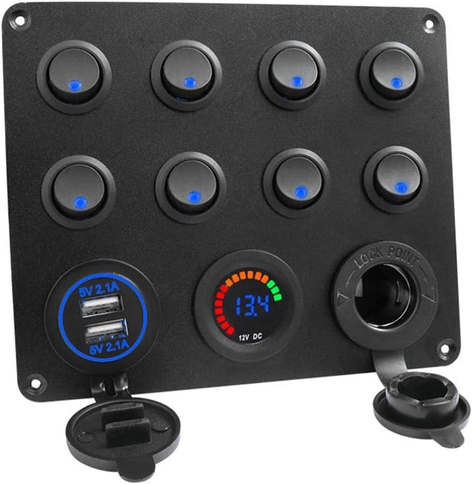 BESPORTBLE 8 Gang OFFicial site Excellent Car Switch Panel Digital Dual Voltm Socket USB