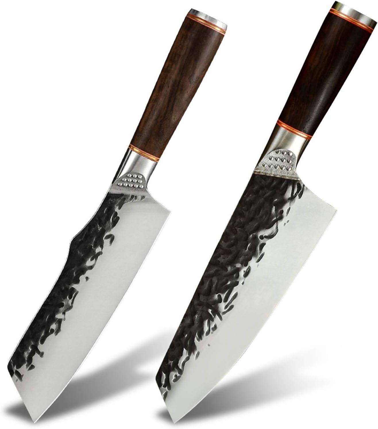 Cuchillo de cocina Hammer Ejercicio Cuchillo de cocina Rebanadas de alta calidad 5CR15 Molibdeum Vanadio Acero Herramienta de cocina Para el chef (Color : 6.5inch)