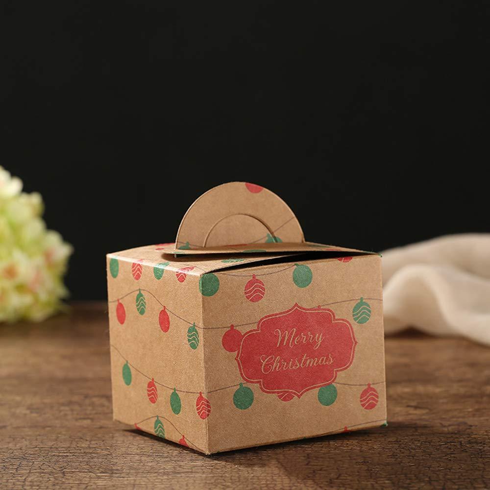 Cajas del caramelo mini fiesta de Navidad de cartón Cajas de Navidad 100pcs favor de papel de regalo de Navidad de la magdalena dulces Carrier Cajas,6: Amazon.es: Hogar