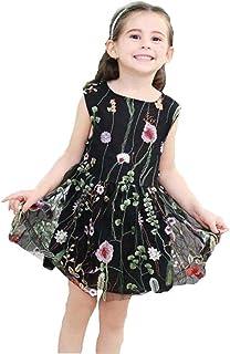 Tonsee 女の子 ドレス ガールズ ワンピース チュールスカート 花柄 刺繍 お姫様風 プリンセスドレス 子供服 結婚式 七五三 プレゼント 90CM-140CM