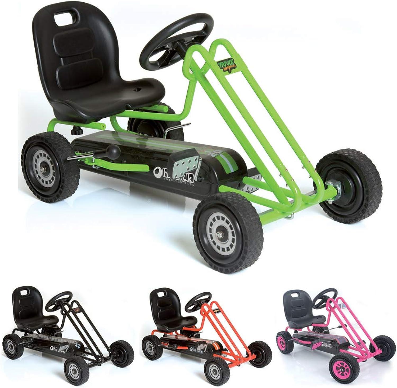 Hauck Lightning Go-Kart - Kinderfahrzeug, Reifen mit Gummiprofil, Handbremse für beide Hinterrder, 3-fach verstellbarer Schalensitz
