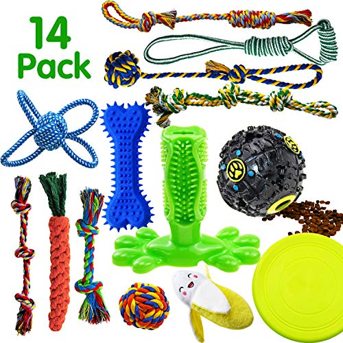 SHARLOVY Dog Chew Toys for Puppies Teething, 14 Pack Dog Rope Toys Tug of War Dog Toy Bundle...