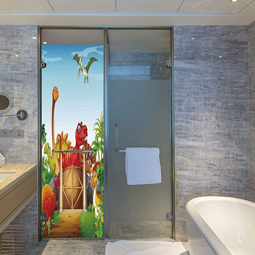 ALUON Frosted Window Film Stained Glass Window Film,Kids,Work Well in The Bathroom,Cartoon Style Cute Dinosaurs in a Dino Park,24''x78''