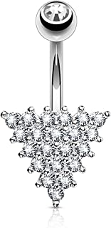 CZ Paved Triangle 316L Surgical Steel Belly Button Navel Rings