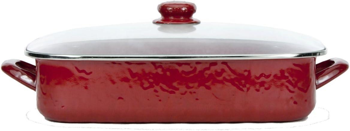 Sea Glass Teal Swirl Pattern Golden Rabbit Enamelware 16 x 12.5 x 4 Inch Roasting Pan Set
