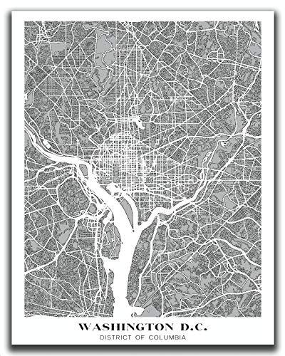 Washington DC Map Wall Art - 11x14