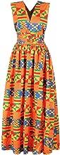 QBQCBB Women African Printing Long Dress Sleeveless Dashiki Party Dress