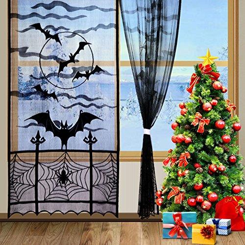 Aytai 2PCS Halloween pizzo finestra pannello 213 x 101 cm, pipistrello per porta o finestra tenda pannelli, nero Spider ragnatela tenda per feste decorazione camera da letto
