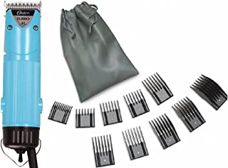 Oster Aqua Allure Color Blue Turbo A5 2-Speed Animal Dog Hair Pro Professional Clipper + 10 Piece Universal Comb Set.