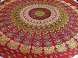 AB India Crafts Toalla tradicional india de mandala para playa, picnic, decoración 100% algodón, 180 cm, color rojo